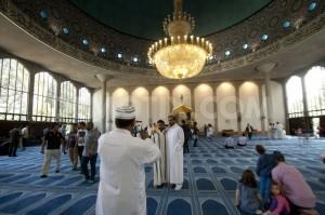 صورة من داخل المسجد وفيها بعض الناس.