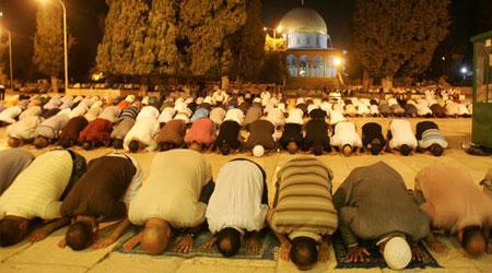 صورة لبعض المسلمين يصلون في جماعة.